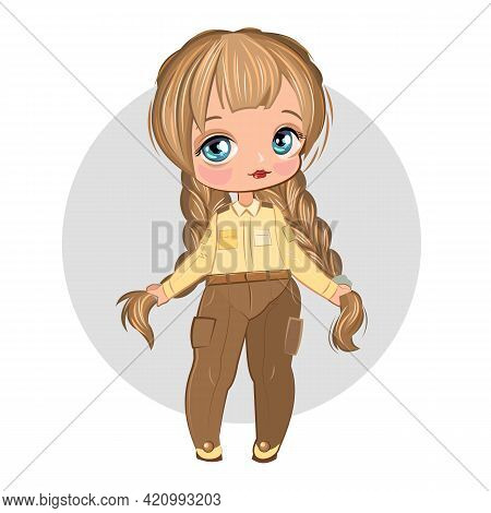 Little Girl In Pretty Pants. Flirts. Handsome Fashionable Child. The Isolated Object On A White Back