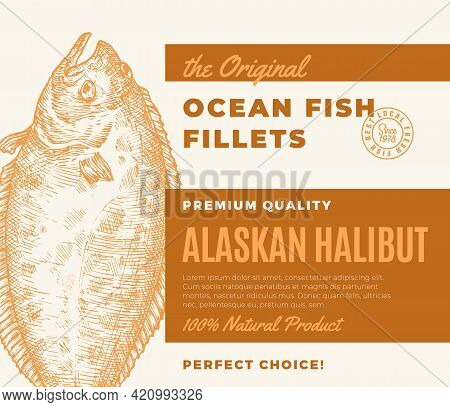 Premium Quality Fish Fillets. Abstract Vector Fish Packaging Design Or Label. Modern Typography And