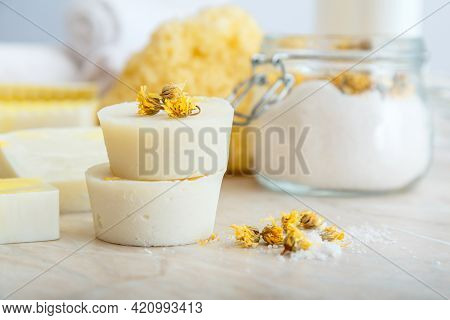 Solid Shampoo Bar Many And Handmade Soap Round Bars With Herbs Dry Marigold Flowers. Spa Bathroom Pr