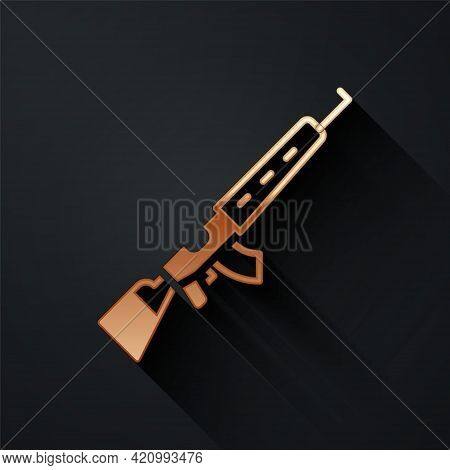 Gold Sniper Rifle With Scope Icon Isolated On Black Background. Long Shadow Style. Vector