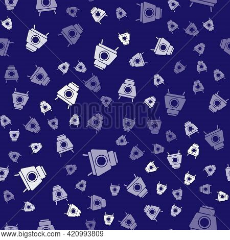 White Mars Rover Icon Isolated Seamless Pattern On Blue Background. Space Rover. Moonwalker Sign. Ap