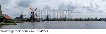 Panorama View Of The Historic Windmills At Zaanse Schaans In North Holland