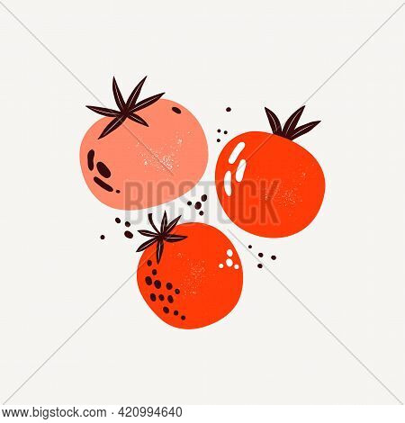 Red And Pink Tomatoes. Vegetables In Flat Trendy Style. Art Composition Of A Ripe Tomato. Healthy Fo