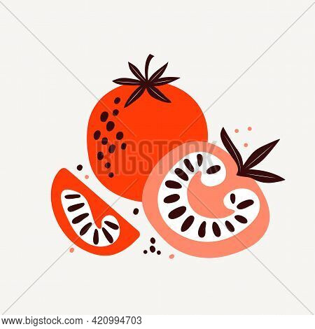 Red And Pink Tomatoes. Vector Illustration Of Vegetables In Flat Trendy Style. Tomato Cut In Half, A
