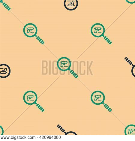 Green And Black Pistol Or Gun Search Icon Isolated Seamless Pattern On Beige Background. Police Or M