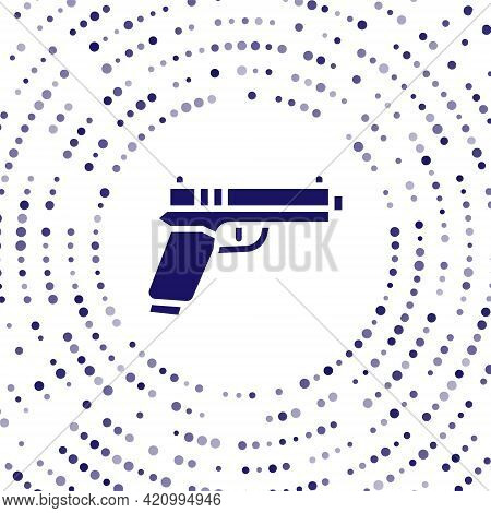 Blue Pistol Or Gun Icon Isolated On White Background. Police Or Military Handgun. Small Firearm. Abs