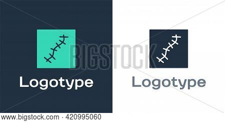 Logotype Scar With Suture Icon Isolated On White Background. Logo Design Template Element. Vector