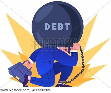 Office Worker In Suit Tied By Chain To Large Burden. Entrepreneur Holding On His Back Huge Weight Of
