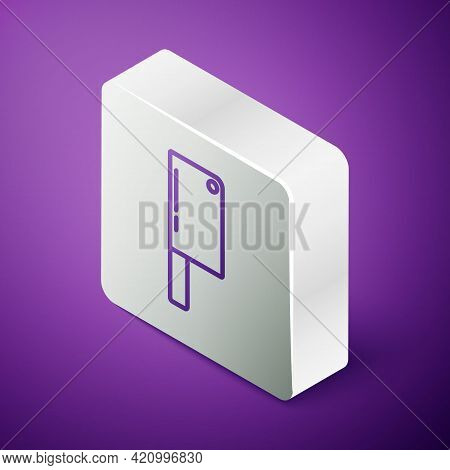 Isometric Line Meat Chopper Icon Isolated On Purple Background. Kitchen Knife For Meat. Butcher Knif