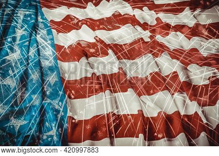 Vintage Usa Flag And Double Exposure Of Firework Display. Independence Day Concept
