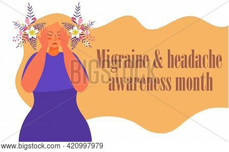 Migraine And Headache Awareness Month Concept Vector. Medical, Health Event