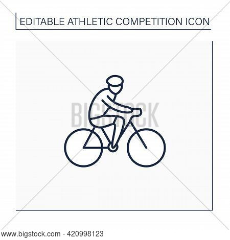 Cycling Line Icon. Bicycling, Biking. Physical Exercises. Cyclist Rides Bike. Athletic Competition C