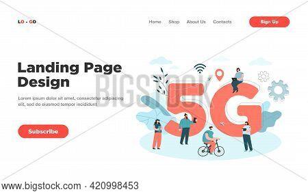 Cartoon People Surfing Internet In Smart City. Flat Vector Illustration. People Using Wireless 5g An
