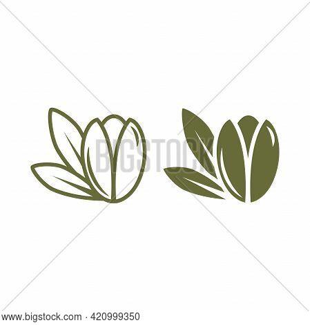 Argan Nut Green Icon. Beauty And Cosmetics Oil. Cosmetic Ingredient Carotene, Carotin. Argania Oil F