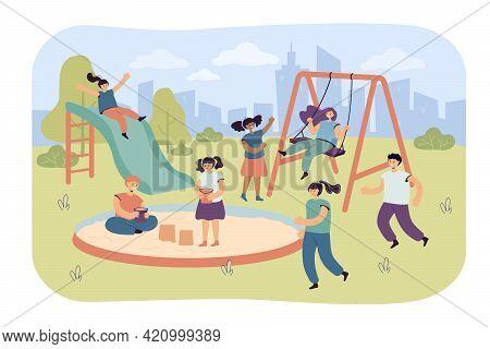 Cute Children Having Fun On Playground. Happy Boys And Girls On Swing, Slide, In Sandbox Flat Vector