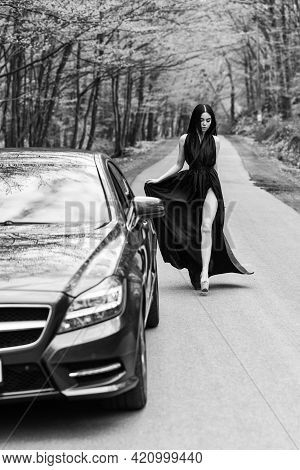 Style From Toe To Head. Sensual Girl Travel Along Road. Fashion Model In Elegant Style. Sexy Style O