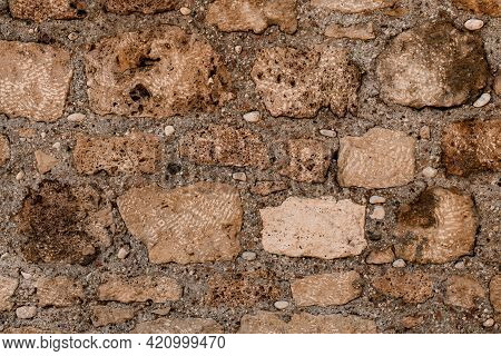 View Of The Wall Masonry Made Of Porous Brick Blocks Of Different Shapes