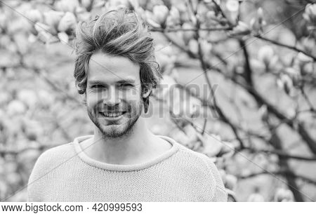 Spring Season. Botany And Nature. Happy Spring Concept. Hipster Enjoy Blossom Aroma. Unshaven Man Sn