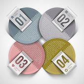 Numbered infographics round paper labels - vector illustration poster