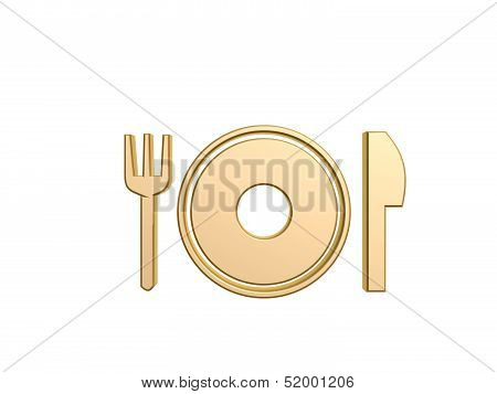 dinner tableware symbol isolated on white background poster