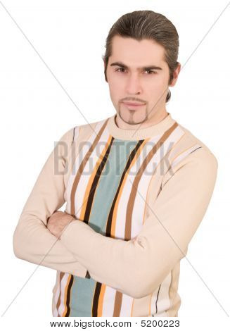 Young Serious Handsome Male In Sweater Isolated