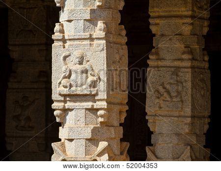 HAMPI, INDIA - FEBRUARY 3: Carved statues in the Hindu temple in Hampi, Karnataka on February 3, 2013. Hampi is located within the ruins of Vijayanagara, the former capital of the Vijayanagara Empire.