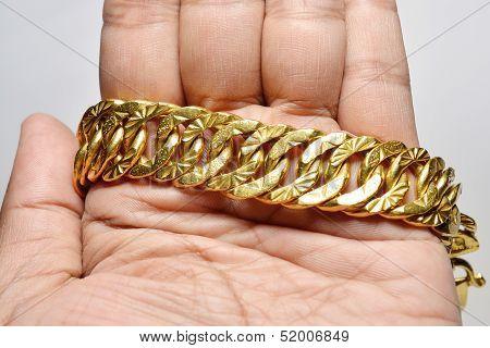 Big Golden Chain Bracelet