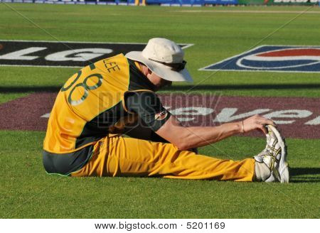 Australian Cricket Champion Bowler Brett Lee Stretching At London's Oval Cricket Ground