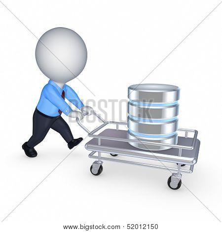 Symbol of database on a pushcart.