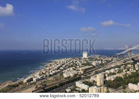 Haifa car cable station view to the Haifa Harbour
