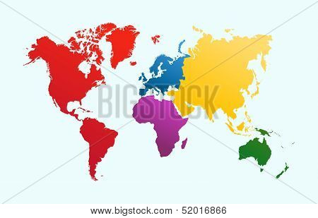 World Map, Colorful