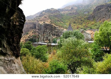 View Of Geghard Monastery From Cliff In Armenia