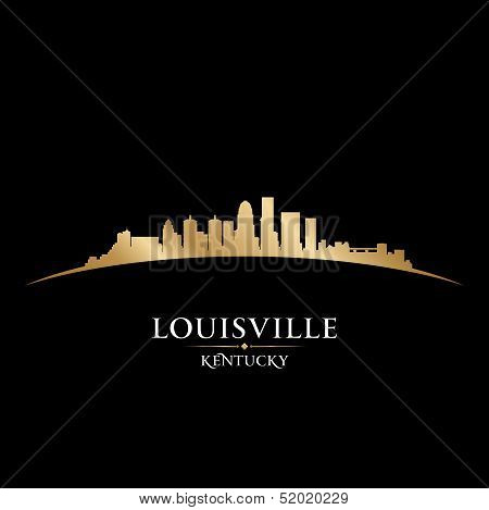 Louisville Kentucky City Skyline Silhouette Black Background