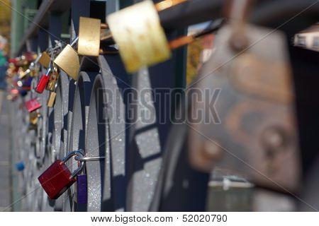 Love locks on bridge in Frankfurt