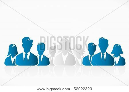 Blue and white silhouettes of business people