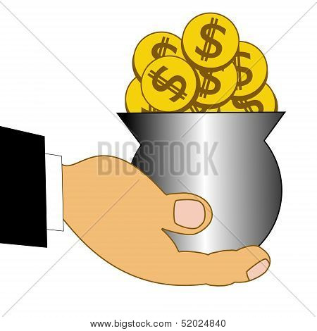 Chinks Dollars In A Metallic Pot On A Hand
