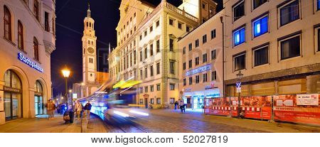 AUGSBURG, GERMANY - SEPTEMBER 28: Traffic in Rathaus Platz September 28, 2013 in Augsburg, Germany. The Bavarian town was once a Free Imperial City for over 500 years.