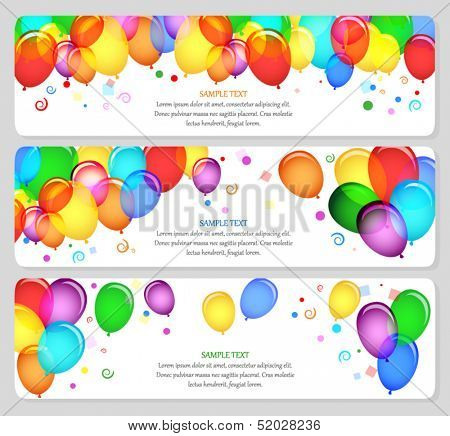 vector image of event banners with colorful balloons