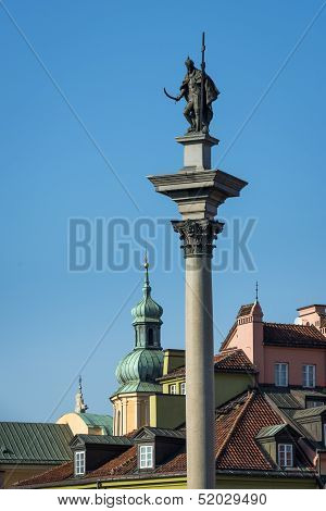 King Zygmunt Iii Waza Column On Castle Square In Warsaw