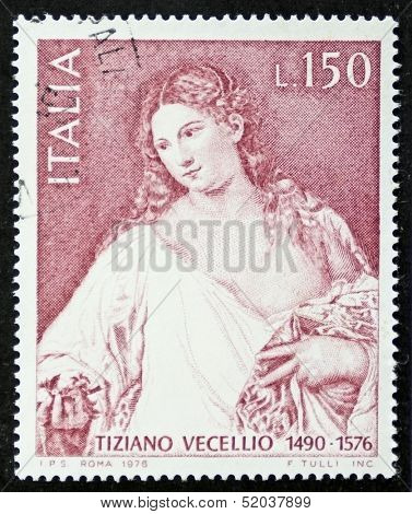 ITALY - CIRCA 1976: a stamp printed in Italy celebrates 4th centenary of the dead of Tiziano Vecellio (Titian, ca. 1479 - 1576) showing image of his famous painting Flora. Italy, circa 1976