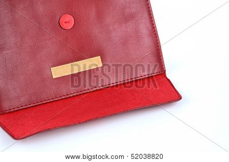Red Leather Envelope Case With Velcro