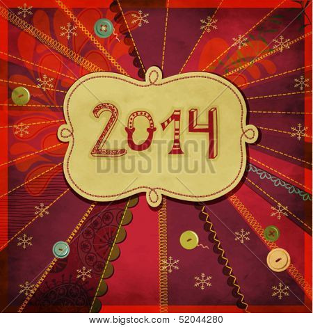 2014: Happy New Year - New Year's greeting card, with doodle numbers and label, hand drawn and sewn on a bright, textured patchwork background, with buttons, frilly borders and different stitches
