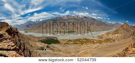 Aerial panorama of Spiti valley and Key gompa in Himalayas. Spiti valley, Himachal Pradesh, India poster