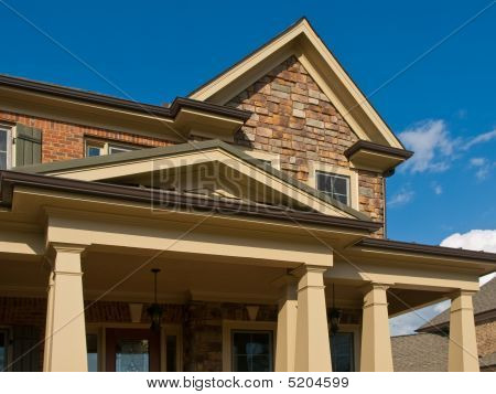 Luxury Model Home Exterior Column Entrance Horizontal
