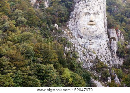 Decebal's head carved in rock, Iron Gates Natural Park, Romania poster