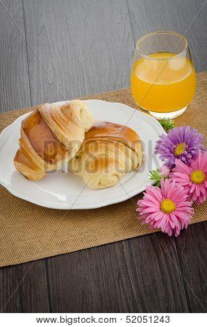 Croissants With Orange Juice