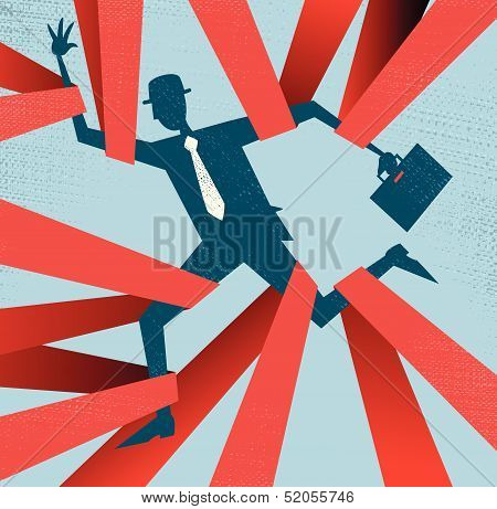 Abstract Businessman caught in Red Tape.