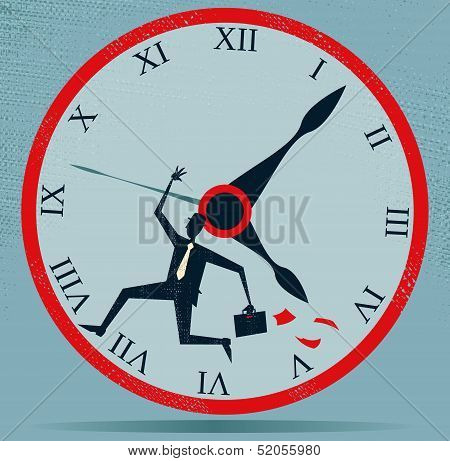 Abstract Businessman Running against the Clock