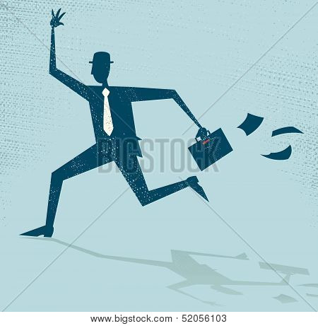 Abstract Businessman Running Late