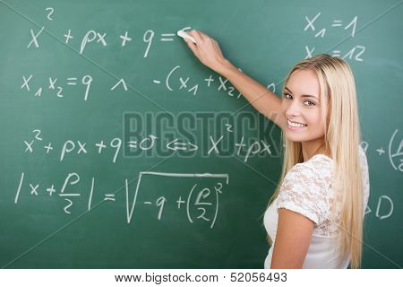 Clever Confident Female Student In The Classroom